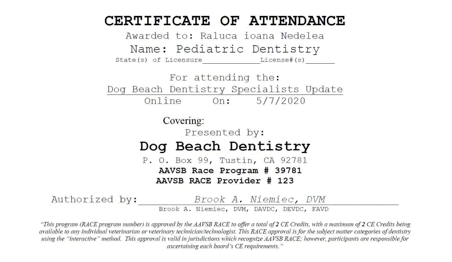 Certificari Pediatric Dentistry 2020