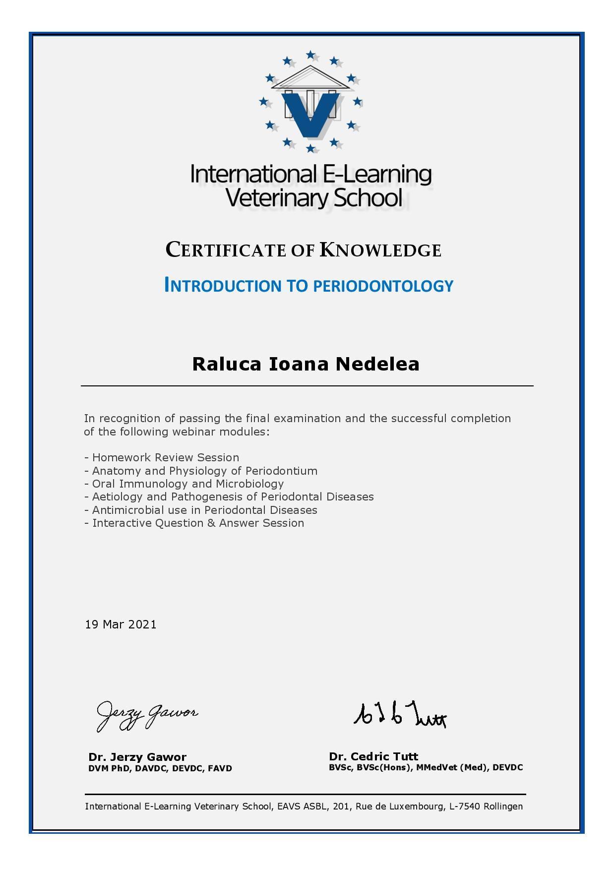 Certificări de stomatologie veterinară Certificate Of Knowledge - Introduction To Periodontology